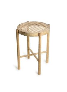 HK Living Taburete de madera y tejido de malla abierta  - Ø35xh80cm - HK Living