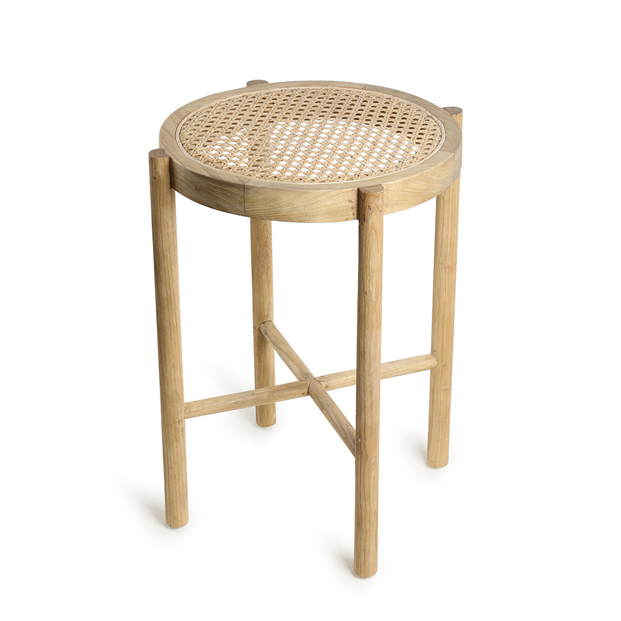 HK Living Retro webbing stool natural - Ø35xh50cm - HK Living