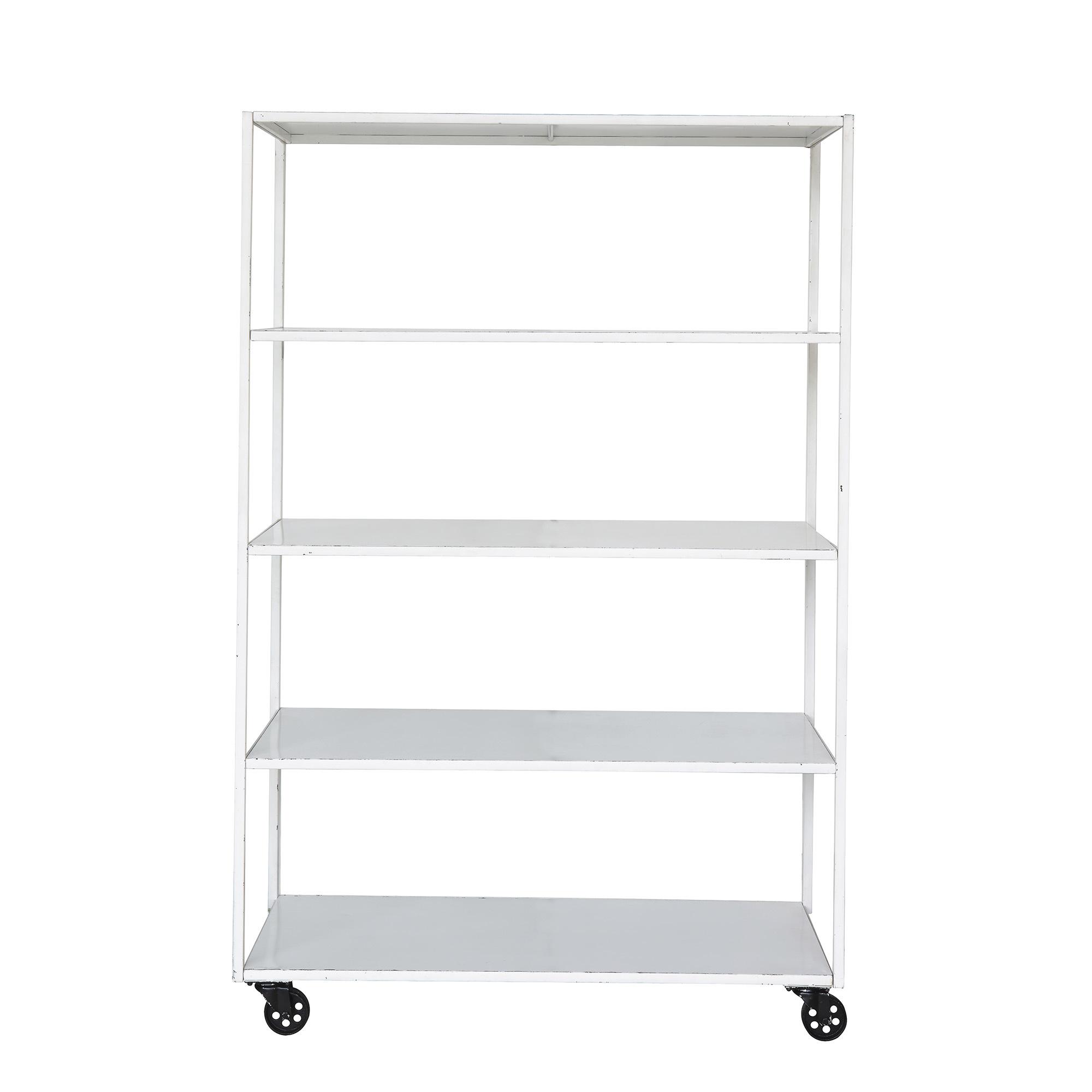 Bloomingville Industrial shelf on wheels - White - L120xH184xW45,5cm - Bloomingville