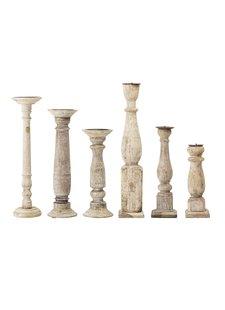 Bloomingville Conjunto de 6 candelabros de madera reciclada - Bloomingville