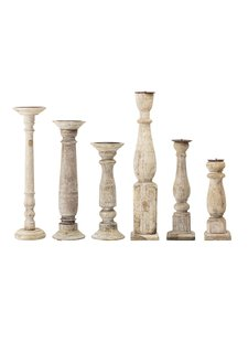 Bloomingville Set of 6 wooden candle holders - Bloomingville