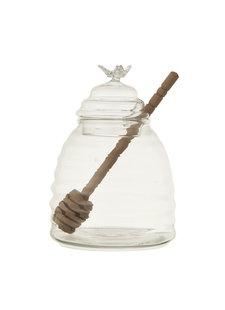 Bloomingville Pot à miel en verre et cuillère en bois - Ø9,5xH13 cm - Bloomingville