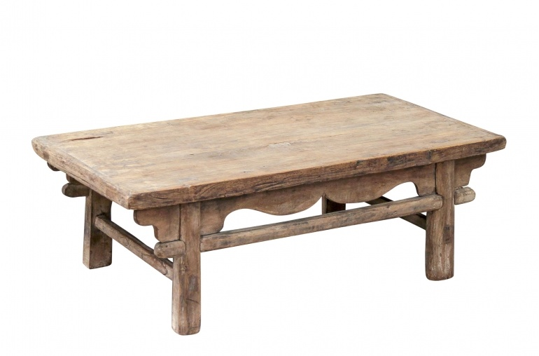 raw wood coffee table - elm wood - 111x53xh38cm
