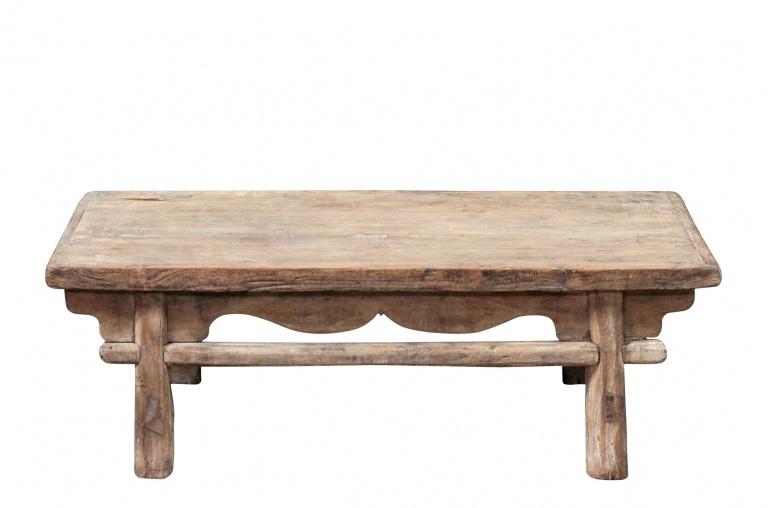 raw wood coffee table - elm wood - 111x53xh38cm