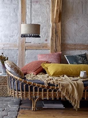 Bloomingville Cushion round Beige & Yellow - Ø40cm - 100% cotton - Bloomingville