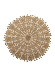 Bloomingville Cojín rodonda beige & amarillo - Ø40cm - 100% algodón - Bloomingville