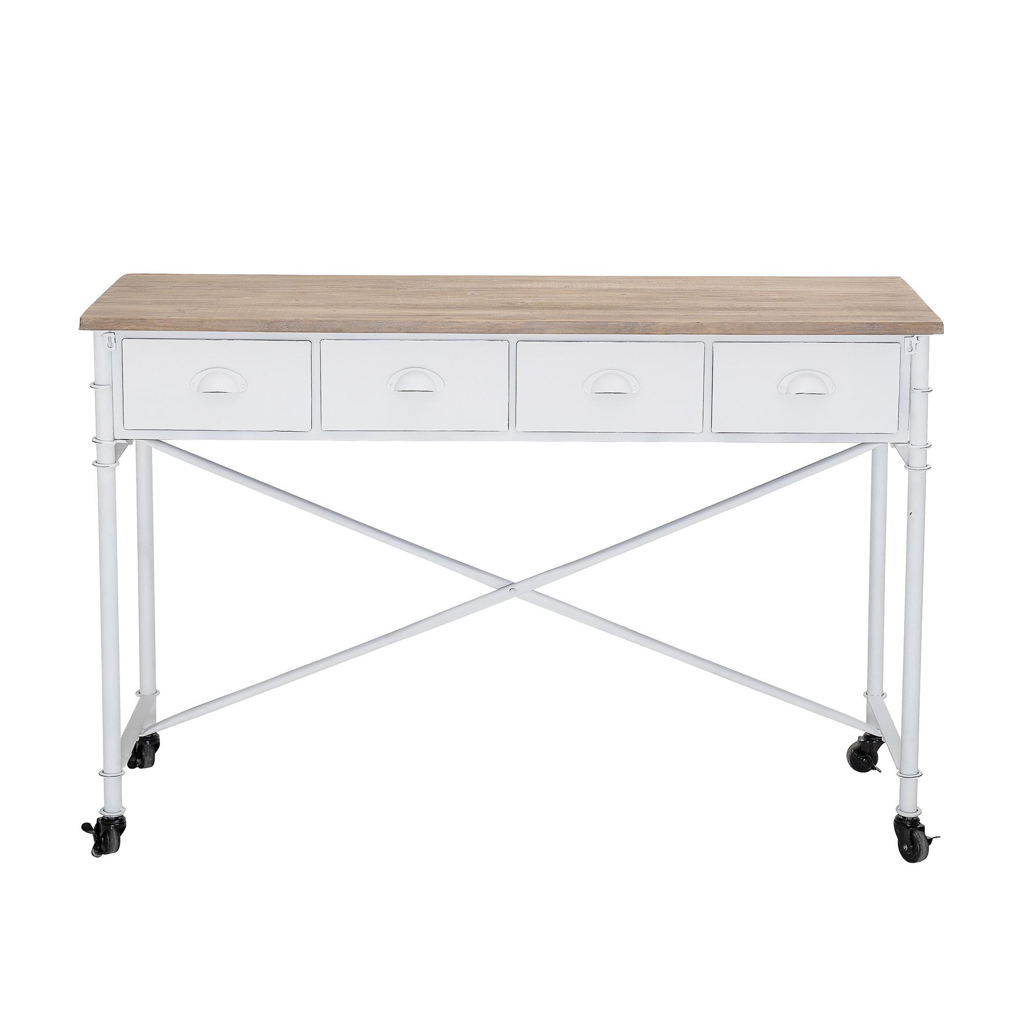 Evenaar Bureau  / console métal - blanc / naturel - L120xH80xW40cm - Bloomingville