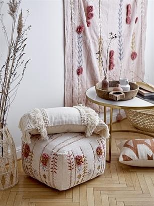Bloomingville Pouf en coton - multicolore / rose - 45xh30cm - Bloomingville