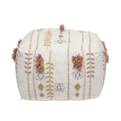 Bloomingville Pouf, Cotton- multi-color / pink - 45xh30cm - Bloomingville