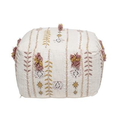Bloomingville Puf de algodón - multicolor / rosa - 45xh30cm - Bloomingville
