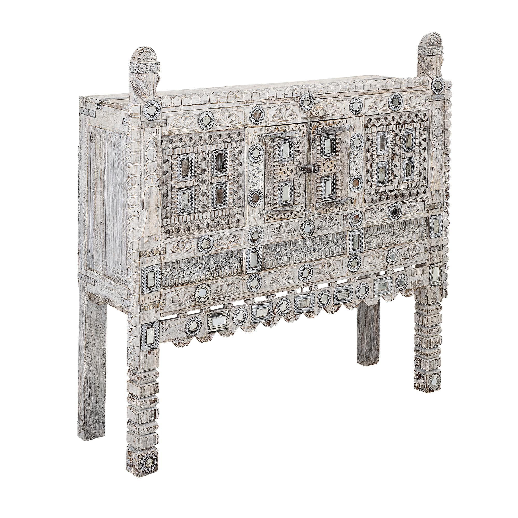 Bloomingville Cabinet - métal et verre - blanc - L120xH120xW36 - Bloomingville