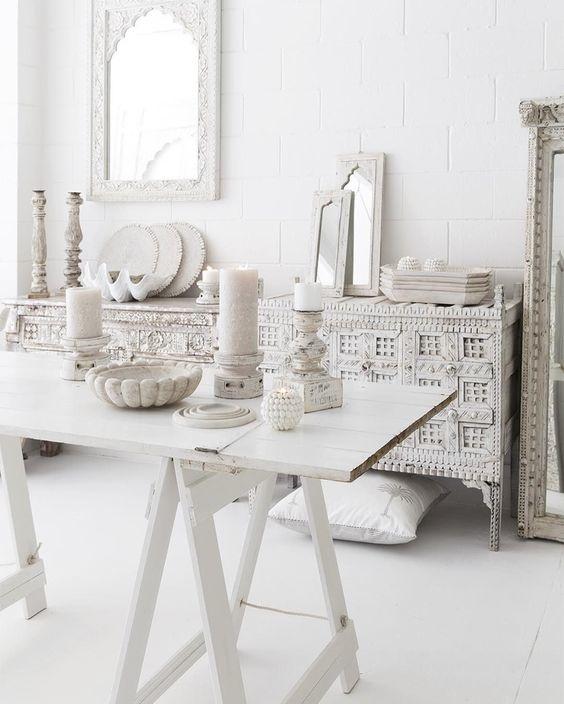 Bloomingville Cabinet - metal y vidro - blanco - L120xH120xW36 - Bloomingville