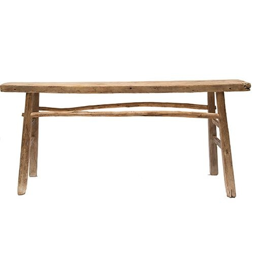 Table console vintage en Bois d'orme - Piece Unique - 166x38xh80cm