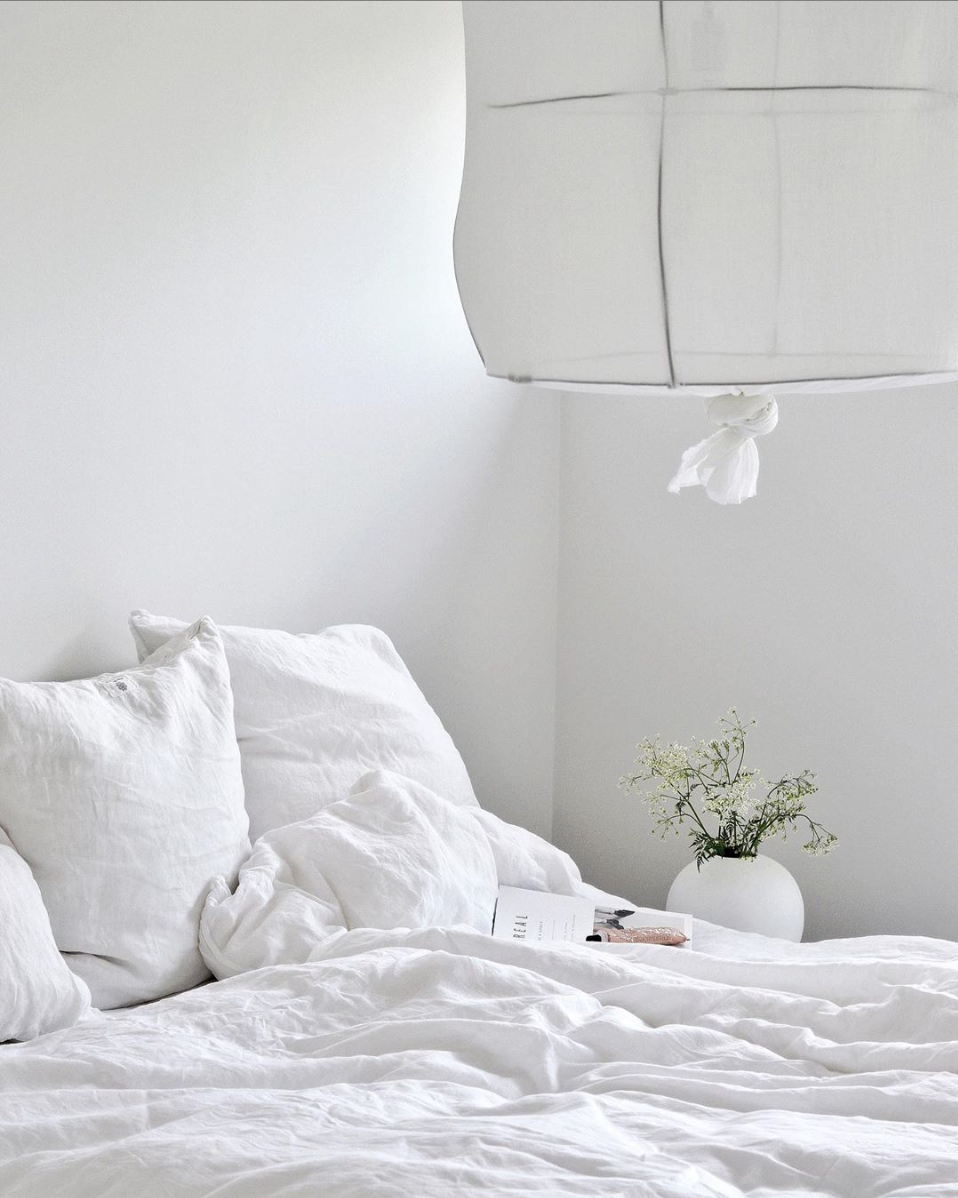 Fresh summer home textile in pure white linen and cotton - instagram