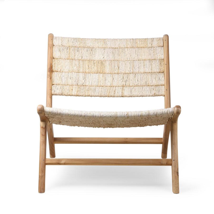HK Living Chaise Lounge abaca et teck - Naturel - HK Living