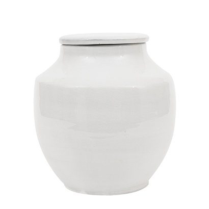 Bloomingville Deco Jar with Lid, terracotta - Ø20xH21cm - white - Bloomingville