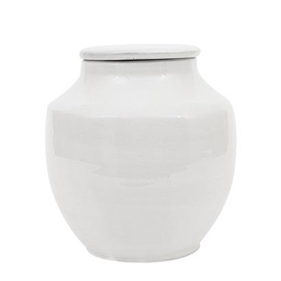 Bloomingville Pot en grès avec couvercle deco, terracotta - Ø20xH21cm - blanc - Bloomingville