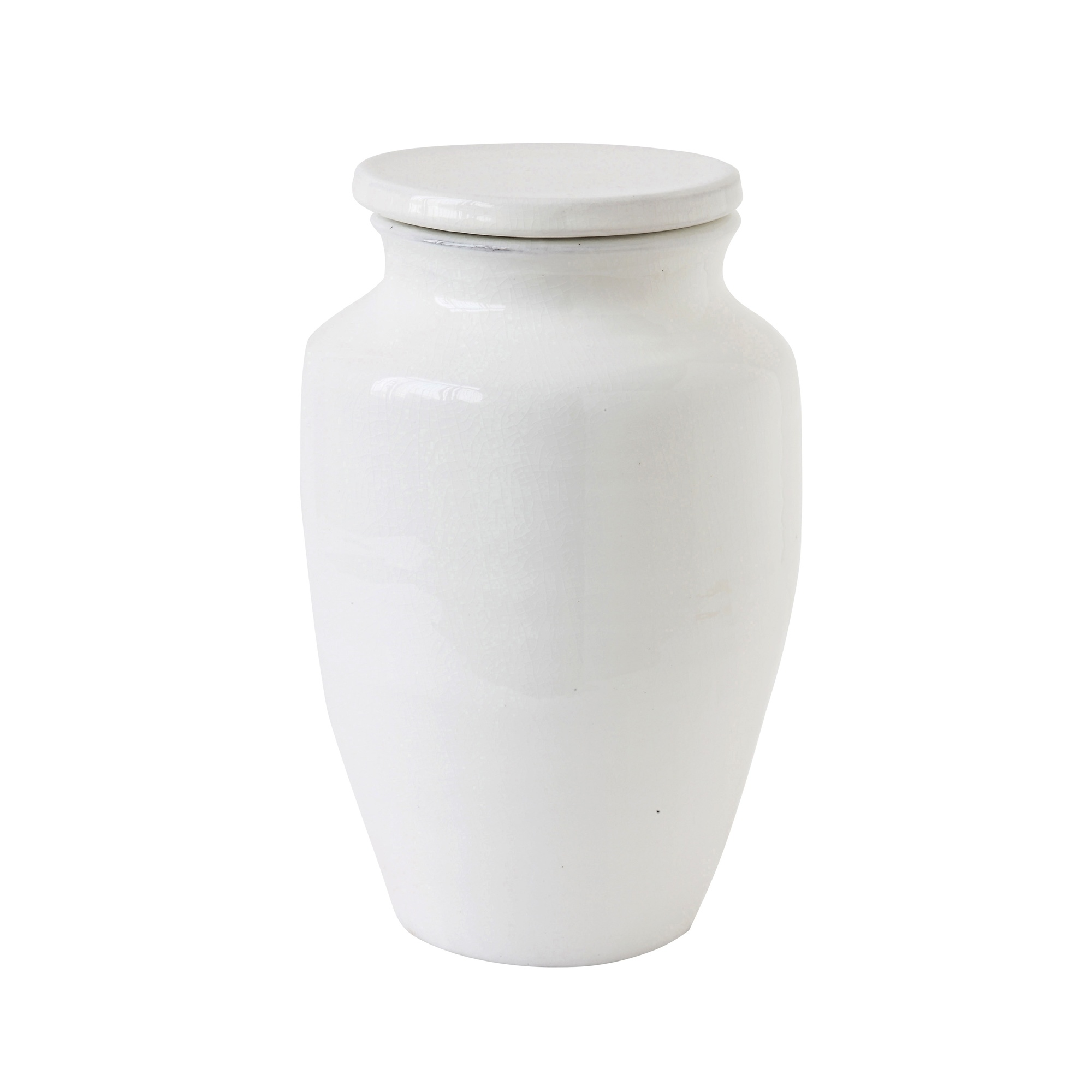 Bloomingville Deco Jar with Lid, terracotta - Ø18xH30cm - white - Bloomingville