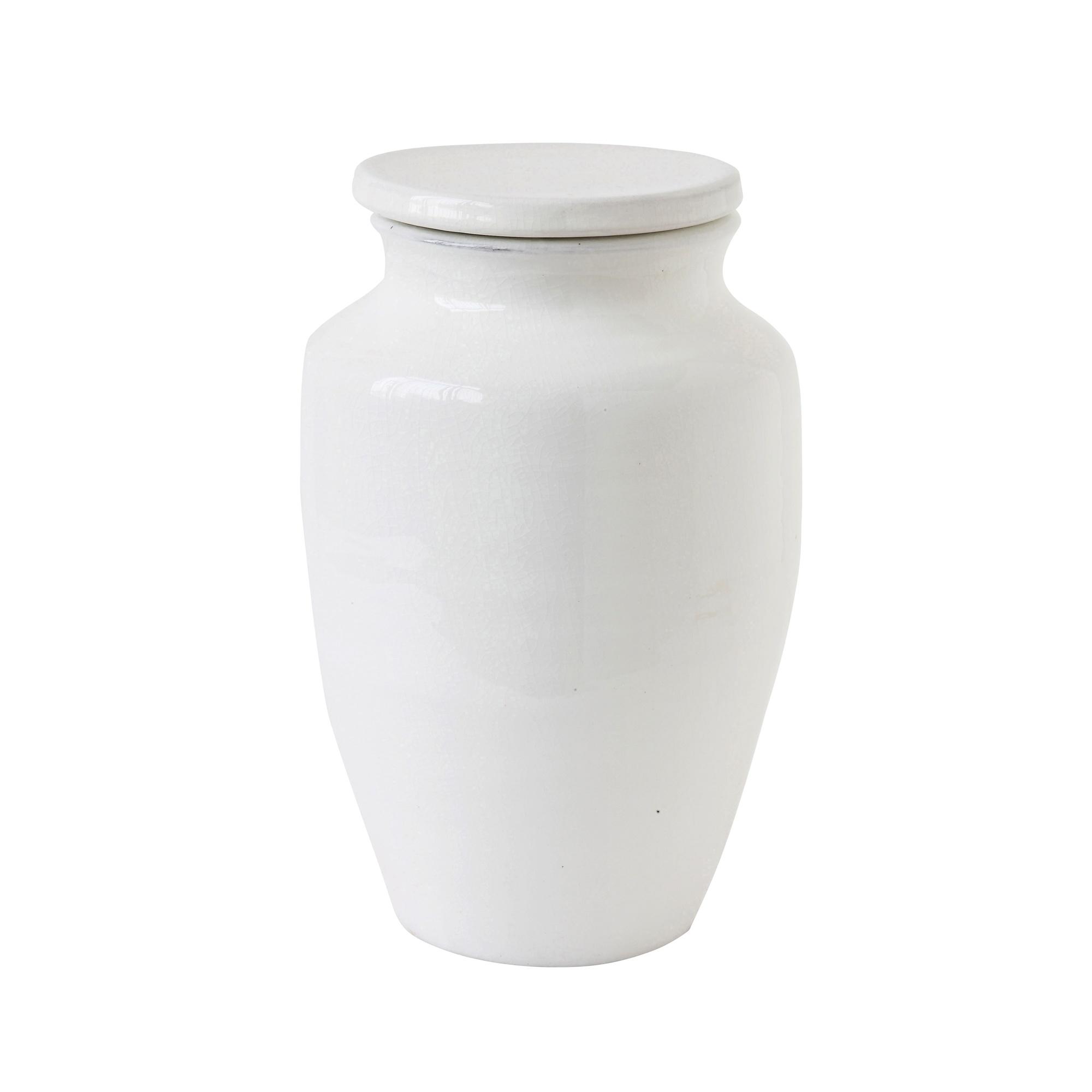 Bloomingville Pot en grès avec couvercle deco, terracotta - Ø18xH30cm - blanc - Bloomingville