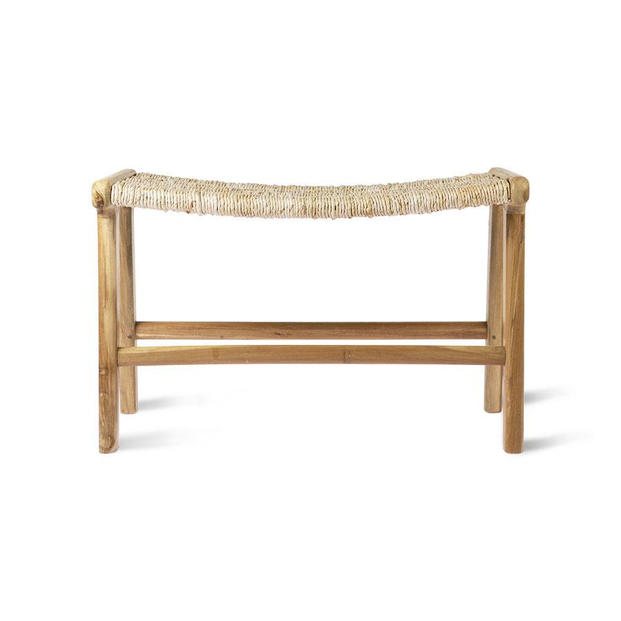 HK Living Abaca/Teak lounge ottoman - 65x40xh41,5cm - HKliving