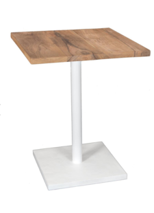 Uniqwa Furniture  Table de bistrot métal et teck - blanc - 60xh75cm - Uniqwa Furniture Collections