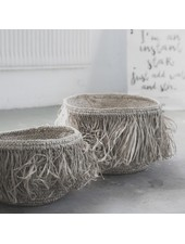 Petite Lily Interiors Fringe basket Raffia - Set of 3 - Nature