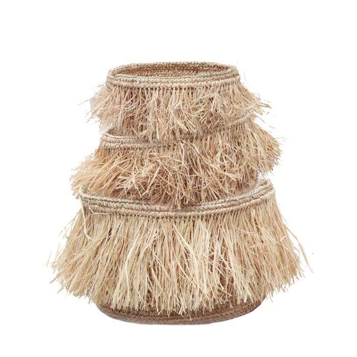Petite Lily Interiors Fringe basket Raffia - Set of 3 - Nature