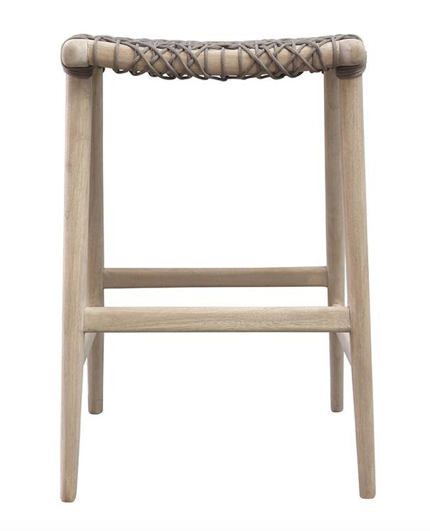 Uniqwa Furniture  Tabouret de bar extérieur Annika - naturel / taupe - 52x42xh69cm - Uniqwa Furniture