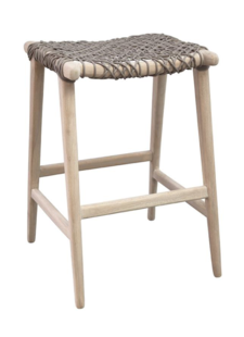 Uniqwa Furniture  Tabouret de bar extérieur Annika - naturel / taupe - 52x42xh69cm - Uniqwa Furniture