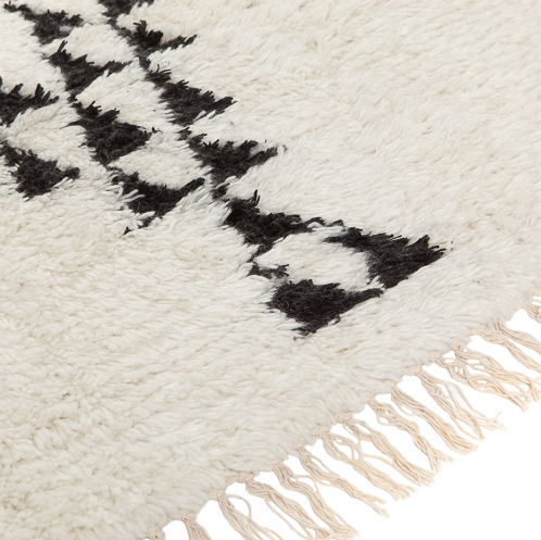Petite Lily Interiors black offwhite / berber style Rug 200x300cm - Wool Cotton