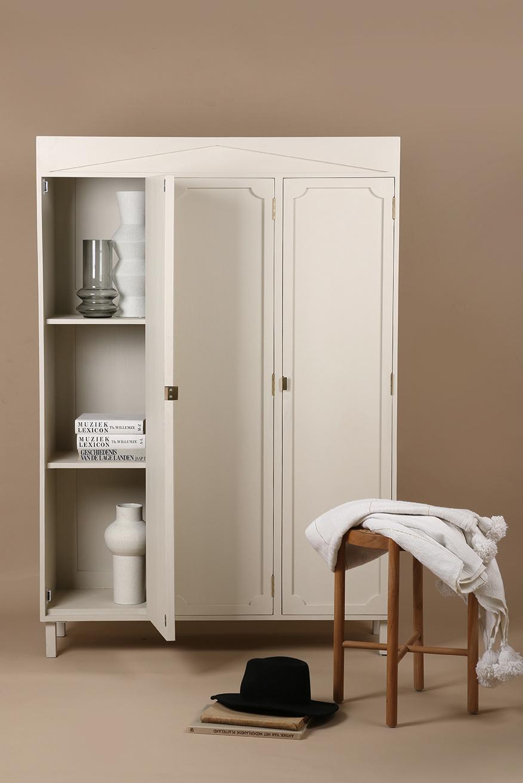 HK Living Couverture / Plaid Marocain en coton avec pompons - blanc / Or - 130x170cm - HK Living