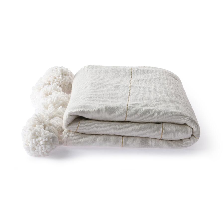 HK Living Manta / Plaid de algodón marroquí con pompones - Blanco / oro - 130x170cm - HK Living