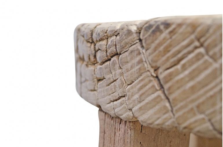 Petite Lily Interiors Tabouret de bar rond naturel - Bois brut - ø35xh 70cm - piece unique