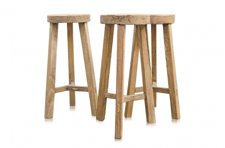 Petite Lily Interiors Round Bar Stool Ethnic - raw wood - ø35xh 70cm - unique piece
