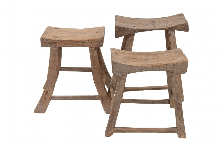 Petite Lily Interiors Saddle Stool- recycled elm wood - 40x22xh50cm - natural - Unique Item