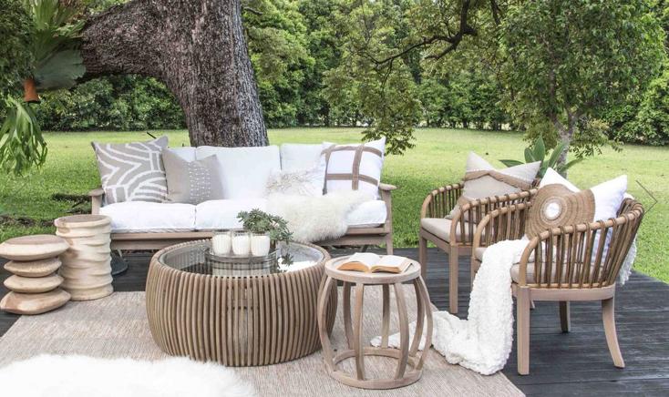 Uniqwa Furniture  Fauteuil  'Malawi TUB' Teck avec Rotin et Kubu - Naturel - Uniqwa Furniture