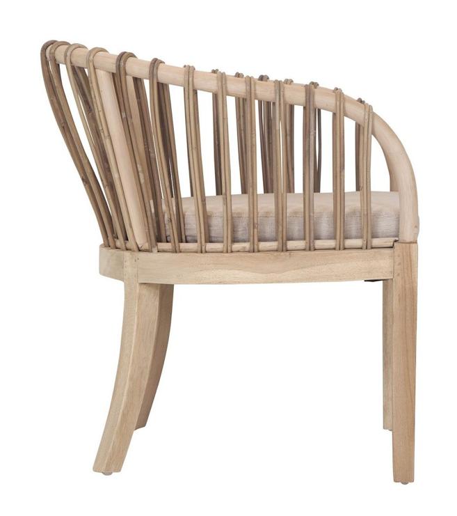 Uniqwa Furniture  Arm Chair 'Malawi TUB' teak with rattan and Kubu - Natural - Uniqwa Furniture