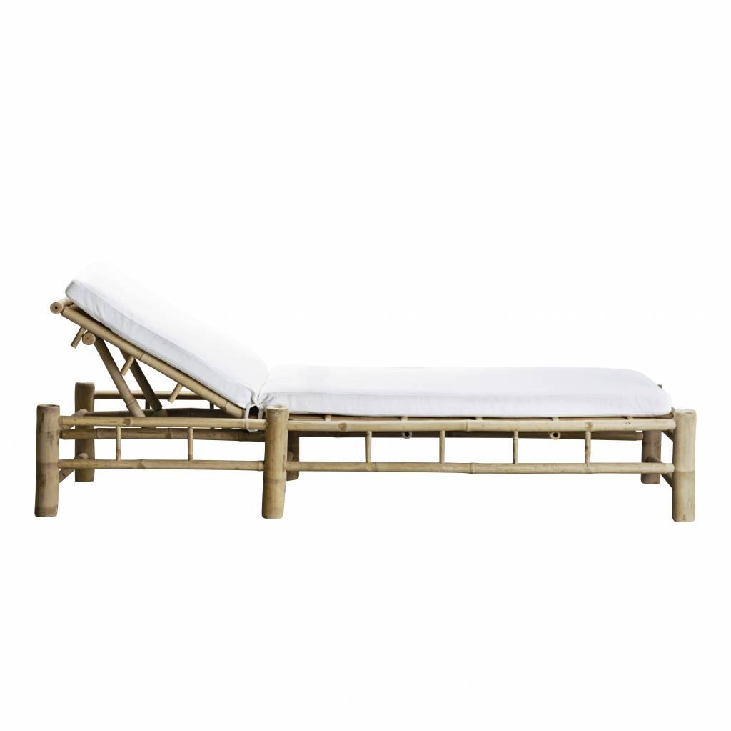 TineKHome Bain de soleil de jardin Bambou 2 places avec coussin en blanc - 210x150xh36cm - TinekHome