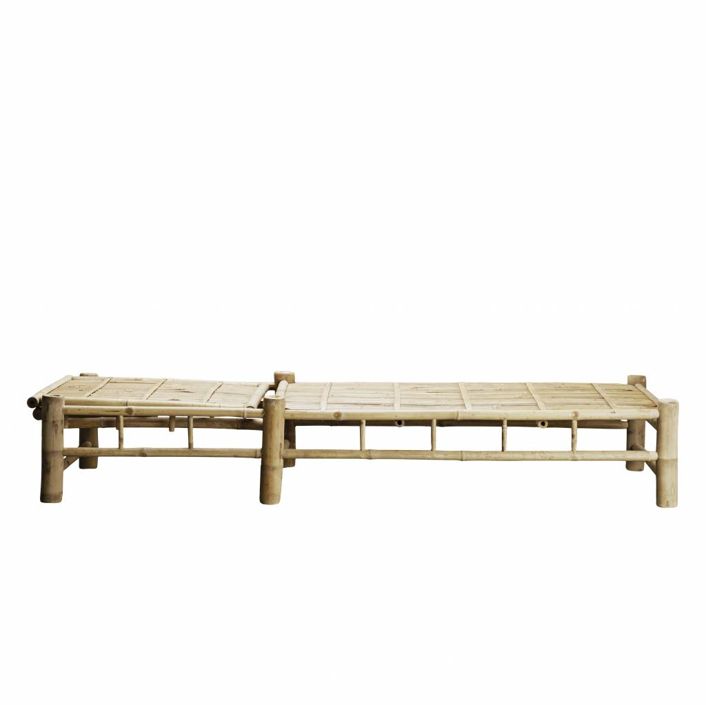 TineKHome Tumbona de bambú con cojín 2 placas en blanco - 210x150xh36cm - TinekHome