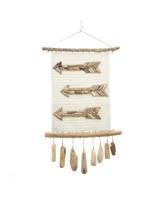Petite Lily Interiors Pendentif  'flèche' en tissage - blanc - 40xh80cm