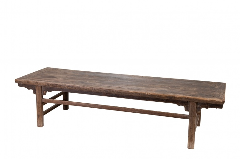raw wood coffee table - elm wood - 191x61xh45cm