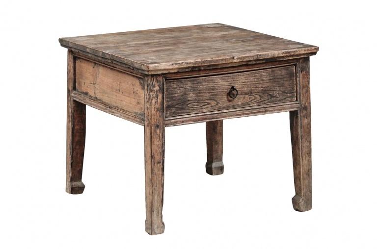 Mesa de salon vintage - Madera de Olmo - 60x60xh52cm