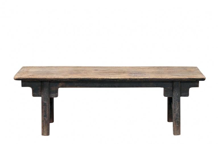 Mesa de salon de madera cruda - 161x51xh52cm - nuez