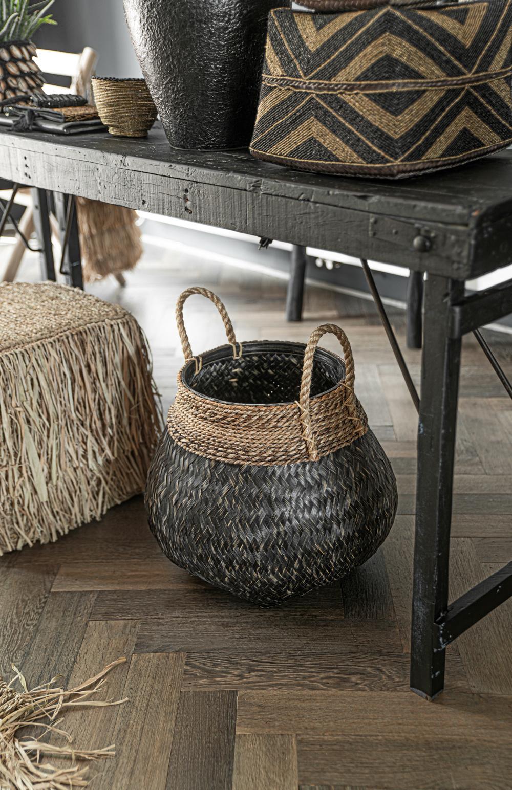 Broste Copenhagen Set of 2 Natural Bamboo baskets - Black - Broste Copenhagen