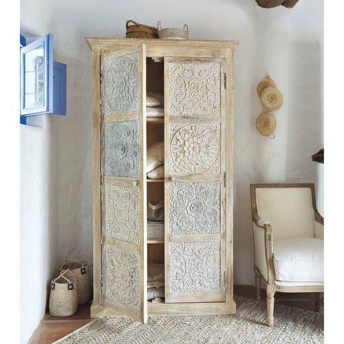 HK Living Ethnic Wardrobe Cabinet - 105x40xH180cm - white - HK Living
