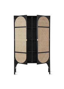 HK Living Armario Retro - madera / caña - negro - 125x40xh200cm - HK Living