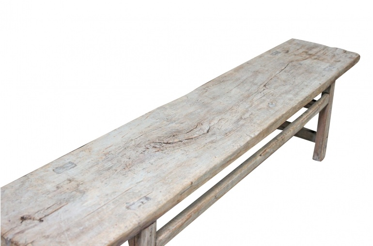 Vintage Bench Raw wood - 221x40xh52cm - Elm Wood - Unique Product (140 years)