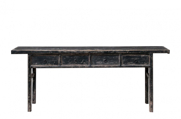 Petite Lily Interiors Black console table vintage w/ 4 drawer - 215x47x85cm - elm wood