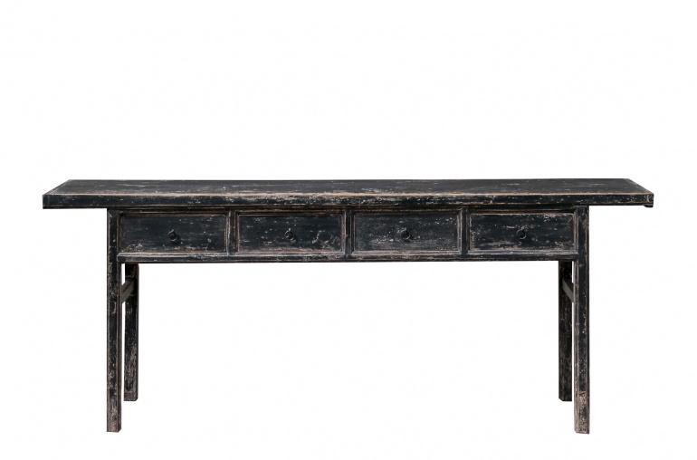Petite Lily Interiors Consola Vintage con 4 cajas - negro - Madera de Olmo - 215x47x85cm