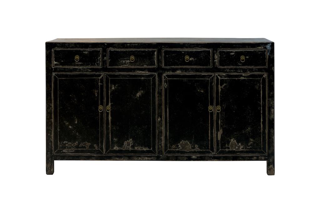 Snowdrops Copenhagen Sideboard Table Vintage - noir - Bois d'orme - 152x42xh90cm